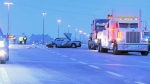 Ontario Provincial Police investigating a fatal crash on Highway 401 in Etobicoke on Dec. 11, 2017.
