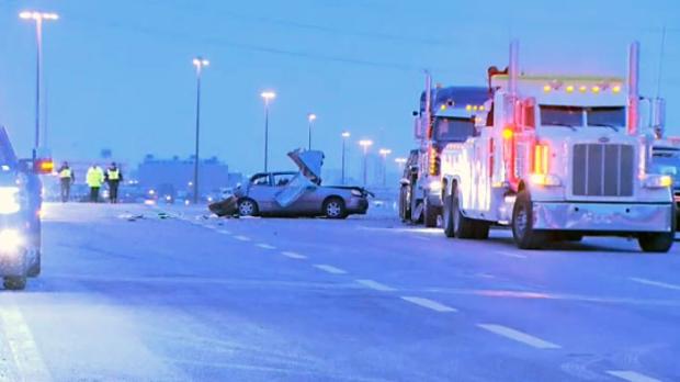 Ontario Provincial Police investigating a fatal crash on Highway 401 in Etobicoke on Dec. 11, 2017.