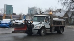 A snow plow and salter is on the streets in Windsor, Ont., on Thursday, Dec. 7, 2017. (Chris Campbell / CTV Windsor)