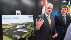 Stephen Matier, left, president of Maritime Launch Services, talks with reporters at a meeting of the proposed Spaceport project team in Dartmouth, N.S. on Monday, Dec. 11, 2017. (Andrew Vaughan/THE CANADIAN PRESS)
