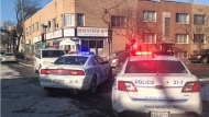 Police blocked the intersection of L.O. David St. and Papineau Ave. after a driver backed up onto a sidewalk and killed a pedestrian on Dec. 11, 2017 (Photo: Montreal police)