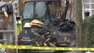 Investigators were back at the scene of the blaze Sunday morning, confirming one person had died in the fire. Dec. 10, 2017. (CTV Vancouver Island)