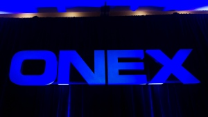 The Onex Corporation logo is displayed at the company's annual general meeting in Toronto on Thursday, May 10, 2012. (THE CANADIAN PRESS / Nathan Denette)