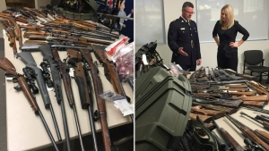 In a composite image, RCMP Superintendent Ken Foster (L) and Red Deer Mayor Tara Veer (R) look at a number of the items seized by investigators in November, 2017. Supplied.