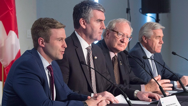 New Brunswick Premier Brian Gallant, Nova Scotia Premier Stephen McNeil, Prince Edward Island Premier Wade MacLauchlan, and Newfoundland and Labrador Premier Dwight Ball, left to right, hold a news conference at the end of a meeting of Atlantic Premiers in Halifax on Monday, Dec. 11, 2017. (THE CANADIAN PRESS/Andrew Vaughan)