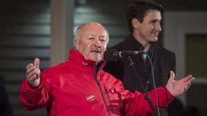 Liberal contender Churence Rogers has captured 68.5 per cent of the vote in Bonavista-Burin-Trinity - 45 percentage points ahead of his nearest competitor, Conservative Mike Windsor. Rogers, left, speaks to supporters with Prime Minister Justin Trudeau in Clarenville, N.L., on Thursday, November 23, 2017. (THE CANADIAN PRESS / Darren Calabrese)