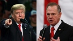 U.S. President Donald Trump and Roy Moore are seen in this composite image. (AP Photo)