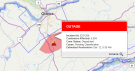 A power outage in Manotick area is seen highlighted on this map from the Hydro One website.