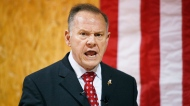 FILE- In this Nov. 30, 2017 file photo, former Alabama Chief Justice and U.S. Senate candidate Roy Moore speaks at a campaign rally, in Dora, Ala. Most statewide Republican officeholders in Alabama say they're voting for Moore for U.S. Senate, but the state's senior U.S. Sen. Richard Shelby didn't vote for Moore. Polls show Moore in a tight race with Democrat Doug Jones. (AP Photo/Brynn Anderson, File)
