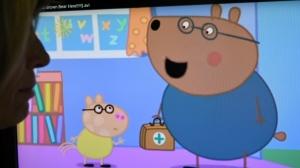 An episode of British animated series Peppa Pig involving the character Dr. Brown Bear. (Daniel Sorabji/AFP)