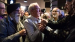 Liberal candidate Gordie Hogg celebrates his federal byelection win in the riding of South Surrey-White Rock, in Surrey, B.C., on Monday, December 11, 2017. THE CANADIAN PRESS/Darryl Dyck