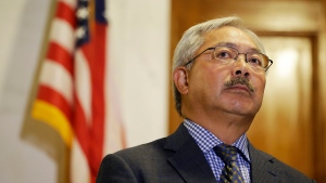 In this Aug. 15, 2017, file photo, San Francisco Mayor Ed Lee listens to questions during a news conference at City Hall in San Francisco. The San Francisco Chronicle reported that Lee died early Tuesday, Dec. 12, 2017. He was 65. (AP Photo/Eric Risberg, File)