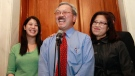 In this Nov. 9, 2011, file photo,San Francisco Mayor Ed Lee, center, speaks at a news conference next to his wife Anita, right, and his daughter Brianna, left, outside of his office at City Hall in San Francisco. (AP Photo/Jeff Chiu, File)