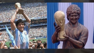The statue of soccer legend Diego Maradona was unveiled in Kolkata, India on Dec. 11, 2017.