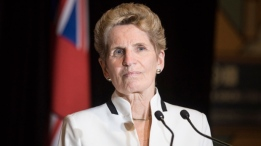 Ontario Premier Kathleen Wynne turns away from the podium after speaks with journalists alongside Quebec Premier Phillippe Couillard after they attended the Confederation of Tomorrow 2.0 Conference in Toronto on Tuesday December 12, 2017. THE CANADIAN PRESS/Chris Young