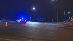 Police temporarily shut down a section of James Mowatt Trail SW northbound at 41 Ave. after a pedestrian was struck by a pickup truck early Tuesday, December 12, 2017.