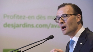 Desjardins president Guy Cormier speaks at a news conference on Saturday, March 19, 2016 at the Desjardins headquarters in Levis, Que. (THE CANADIAN PRESS/Jacques Boissino)