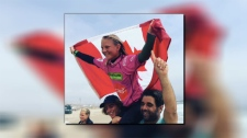 Tofino surfer Mathea Olin celebrates her gold medal win at the Pan American Surfing Championships in Peru. (Submitted)