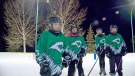 Saskatoon Comet Storm hockey players practice on the outdoor ice off Louise Avenue.