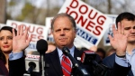 Democratic candidate for U.S. Senate Doug Jones speaks to reporters after voting Tuesday, Dec. 12, 2017, in Mountain Brook, Ala. (AP Photo/John Bazemore)