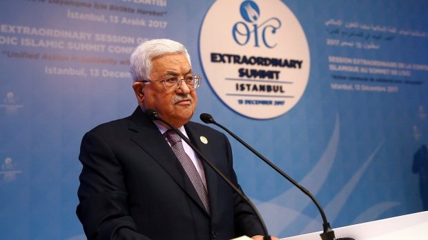 Palestinian President Mahmoud Abbas addresses the Organisation of Islamic Cooperation's Extraordinary Summit in Istanbul, Wednesday, Dec. 13, 2017. (Kayhan Ozer/Pool Photo via AP)