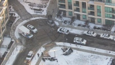 The scene after Toronto police say a baby seriously injured in stabbing in Toronto. (CTV Toronto)