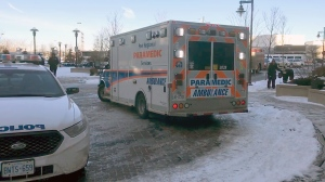 EMS at the scene of a stabbing  in Etobicoke where a four-month-old baby and a man were tabbed on Dec. 13, 2017.