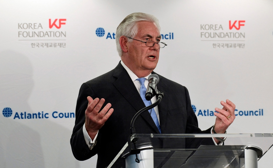 Secretary of State Rex Tillerson speaks at the 2017 Atlantic Council-Korea Foundation Forum in Washington, Tuesday, Dec. 12, 2017. (AP Photo/Susan Walsh)