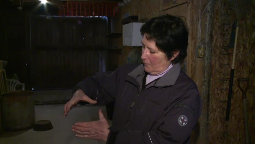 Christine Lannamann estimates the size of the rat that bit her.