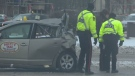 A truck collided with a taxi early Wednesday morning sending four to hospital (Source: Ryan Harding/CTV)