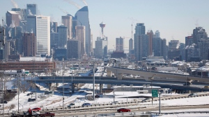 Highway traffic moves through Calgary, Alta., on Wednesday, Feb. 8, 2017. (THE CANADIAN PRESS / Jeff McIntosh)