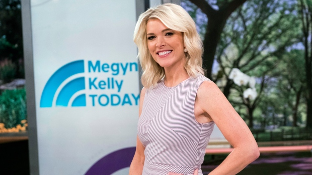 """In this Sept. 21, 2017 file photo, Megyn Kelly poses on the set of her new show, """"Megyn Kelly Today"""" at NBC Studios in New York. Kelly's show has a more substantive edge than when it started in September. (Charles Sykes / Invision / AP)"""