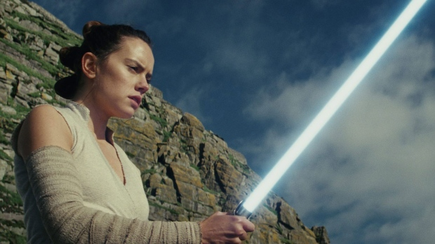 """This image released by Lucasfilm shows Daisy Ridley as Rey in """"Star Wars: The Last Jedi,"""" in theaters on Dec. 15. (Lucasfilm via AP)"""