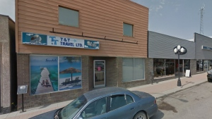 T & T Travel in Kindersley is shown here in this Google Maps screenshot.