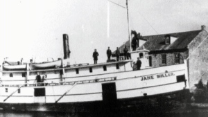 The Jane Miller, a steamship, is seen in this photo. The vessel set sail and sank on a wintry November day in 1881.