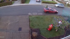 After stealing the parcel, the man drove off in a red Chevy Corvette.