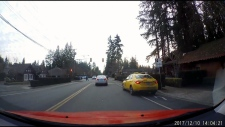 A Sunshine Cabs driver veers into a bike lane near the Capilano Suspension Bridge before going through a red light. (YouTube)