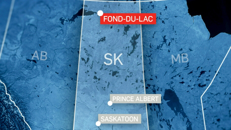 A map shows Fond Du Lac in relation to Prince Albert and Saskatoon.