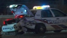 An officer suffered minor injuries after a cruiser was rear-ended on the Gardiner Expressway.