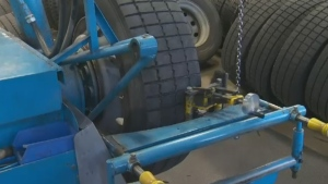 The STM makes its own winter tires for buses, adding rubber to old tires and cutting fresh sipes