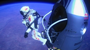 Felix Baumgartner jumps out of the capsule during the final manned flight for Red Bull Stratos, on Oct. 14, 2012. (Red Bull Stratos / AP)