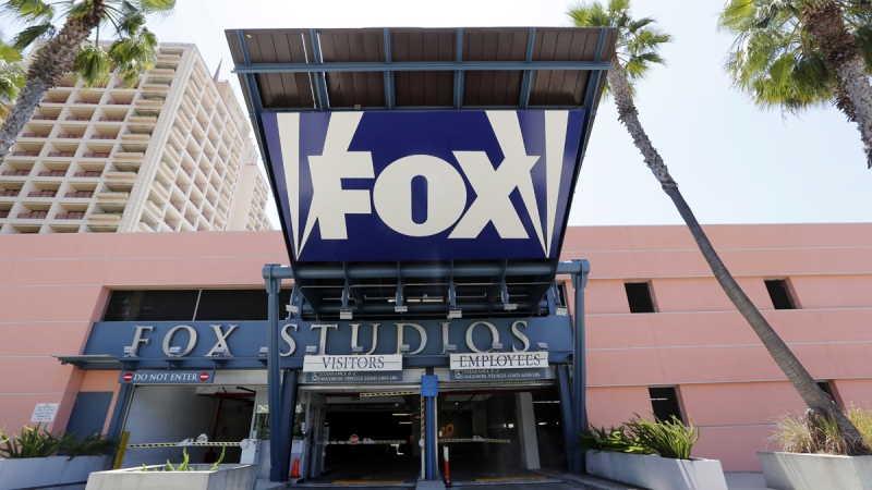 An entrance to a parking garage at 20th Century-Fox studios, an entity owned by News Corporation, is seen in Los Angeles on May 7, 2013. (Reed Saxon / AP)