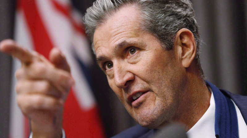 Manitoba Premier Brian Pallister speaks to media at an embargoed press conference before the provincial throne speech at the Manitoba Legislature in Winnipeg, Tuesday, November 21, 2017. (Source: John Woods/The Canadian Press)