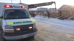 One person was taken to hospital after falling into a pit at a construction site at Commonwealth Drive and Swartz Street in Kitchener. (Dan Lauckner / CTV Kitchener)