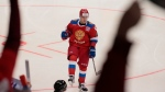 Russia's Nikita Gusev reacts after scoring during the Channel One Cup ice hockey match between Sweden and Russia in Moscow, Russia, Thursday, Dec. 14, 2017. Russia won 3-1. (AP Photo / Ivan Sekretarev)
