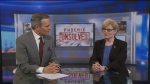 Public Services and Procurement Minister Carla Qualtrough (right) sits down with CTV Ottawa's Graham Richardson (left) to talk about the troubled Phoenix Pay System on Thursday, Dec. 14, 2017.