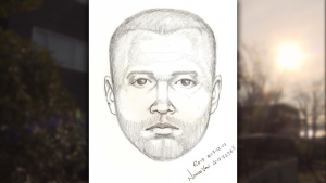 Mounties have released a suspect sketch of a man who allegedly entered a woman's North Vancouver apartment through her patio this week. (Handout)