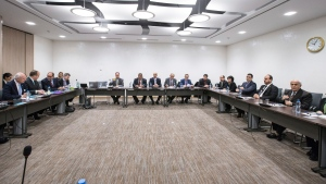 UN Special Envoy for Syria Staffan de Mistura, left, and Nasr al-Hariri, second right, head of the Syrian Negotiation Commission (SNC), attend a round of negotiations during the Intra Syria talks, at the European headquarters of the United Nations in Geneva, Switzerland, Dec. 14. 2017. (Xu Jinquan/Pool Photo via AP)