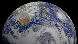 This file image provided by NASA consists of data from six orbits by the Suomi-NPP spacecraft on April 9, 2015, that has been assembled into this perspective composite of southern Africa and the surrounding oceans. (NASA via AP)