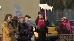 About 40 people turned out to a rally held at the DFO office in Victoria in support of First Nations and other activists staging an ongoing protest at a salmon farm east of Port Hardy. Dec. 14, 2017. (CTV Vancouver Island)